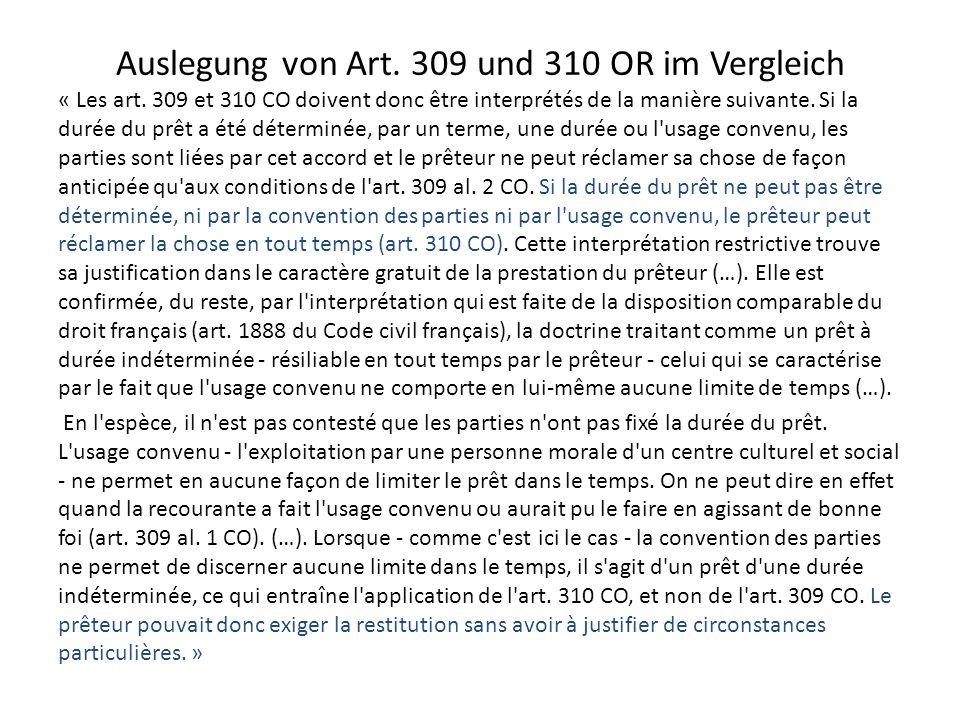 Auslegung von Art.309 und 310 OR im Vergleich « Les art.