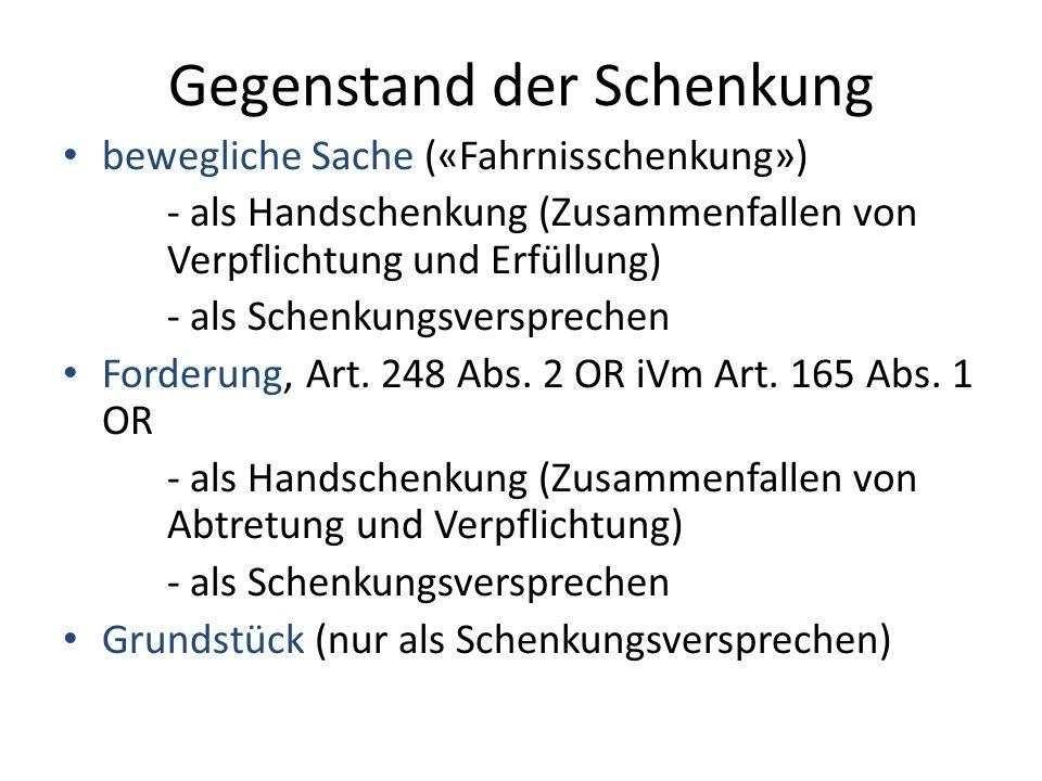 Vertragsentstehung Schenkungs- «Versprechen» (Art.