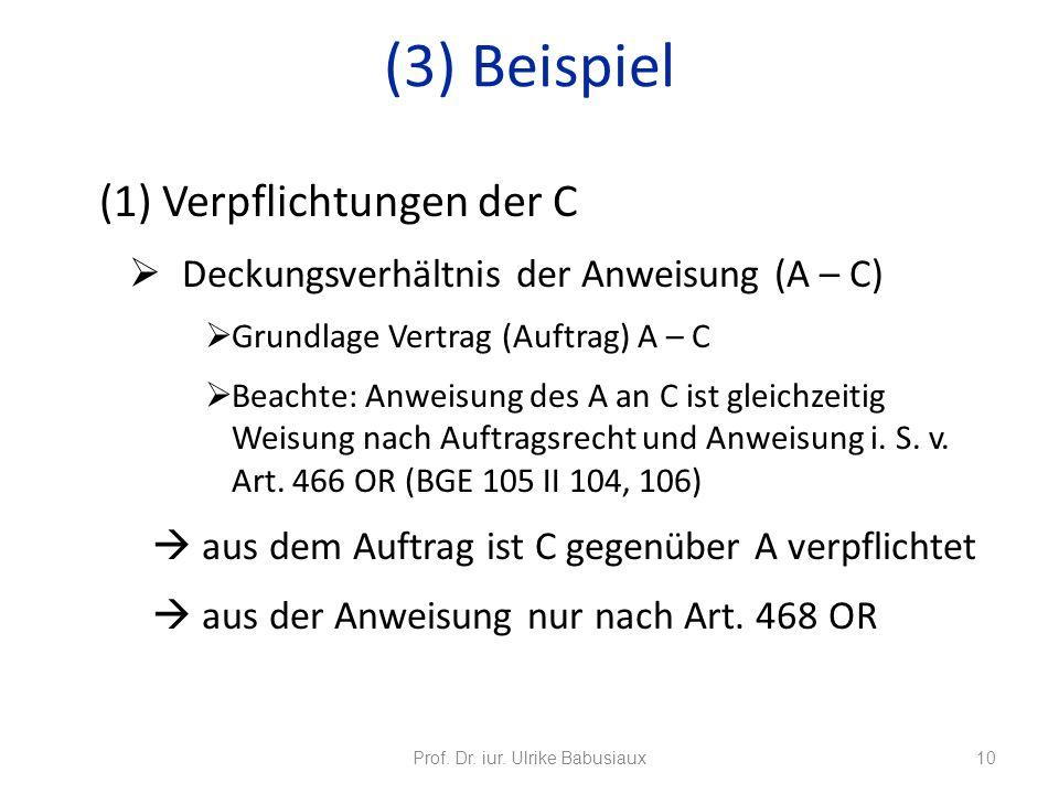 (1) Verpflichtungen der C Deckungsverhältnis der Anweisung (A – C) Grundlage Vertrag (Auftrag) A – C Beachte: Anweisung des A an C ist gleichzeitig We