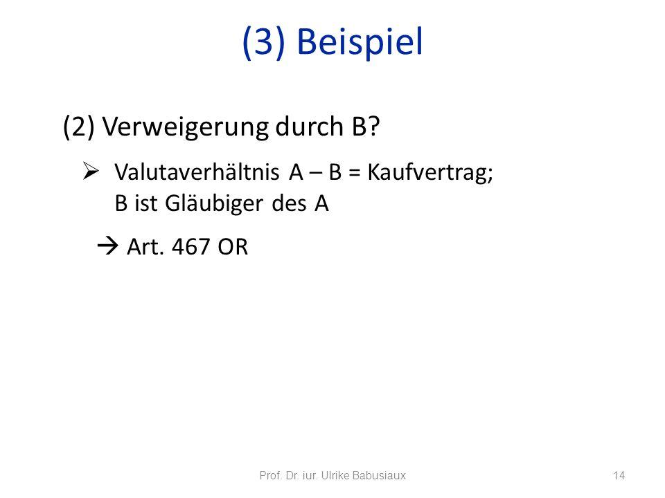 (2) Verweigerung durch B? Valutaverhältnis A – B = Kaufvertrag; B ist Gläubiger des A Art. 467 OR Prof. Dr. iur. Ulrike Babusiaux14 (3) Beispiel