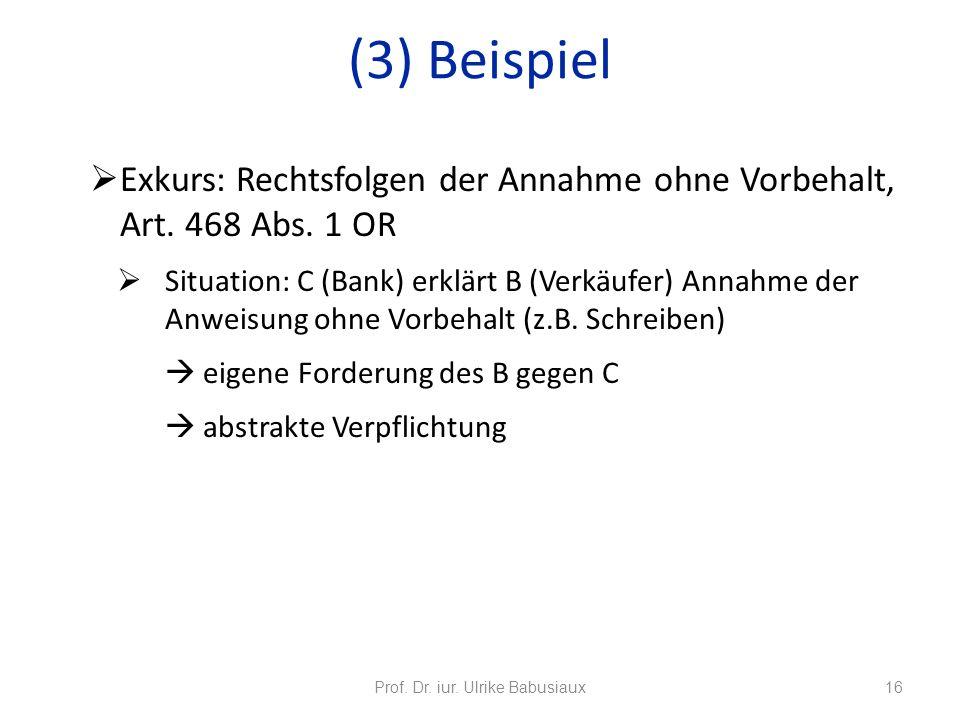 Exkurs: Rechtsfolgen der Annahme ohne Vorbehalt, Art. 468 Abs. 1 OR Situation: C (Bank) erklärt B (Verkäufer) Annahme der Anweisung ohne Vorbehalt (z.