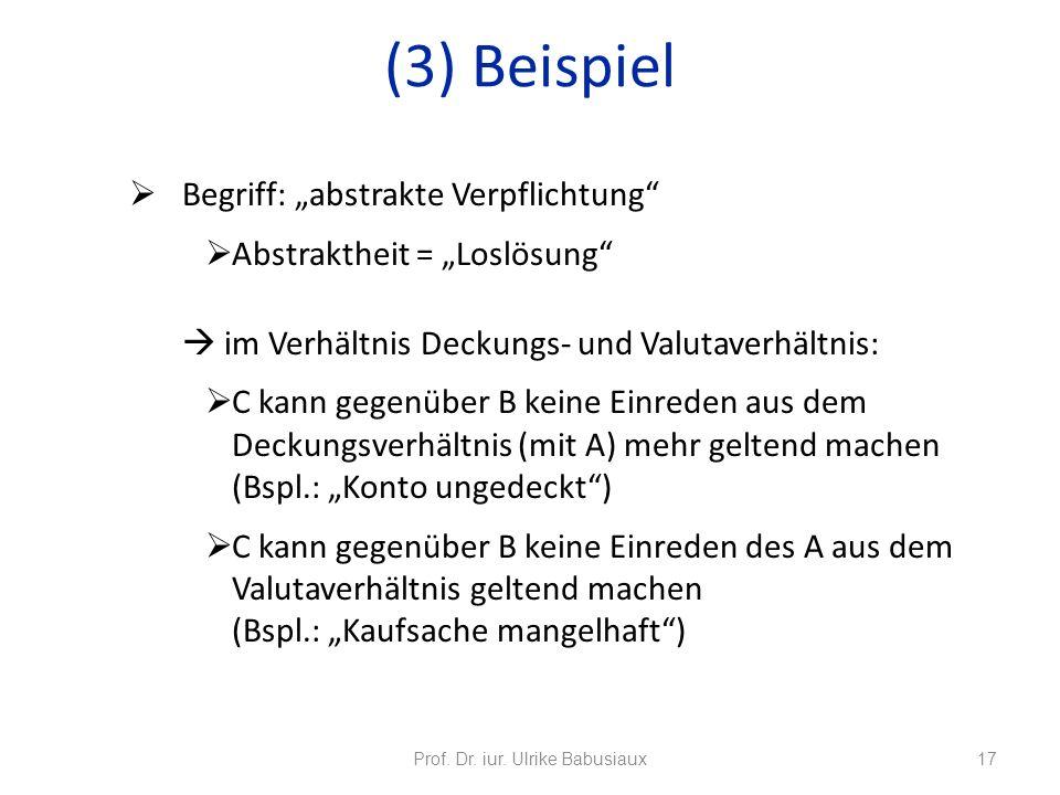 Begriff: abstrakte Verpflichtung Abstraktheit = Loslösung im Verhältnis Deckungs- und Valutaverhältnis: C kann gegenüber B keine Einreden aus dem Deck