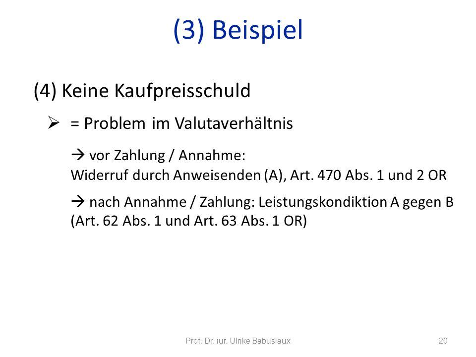(4) Keine Kaufpreisschuld = Problem im Valutaverhältnis vor Zahlung / Annahme: Widerruf durch Anweisenden (A), Art. 470 Abs. 1 und 2 OR nach Annahme /