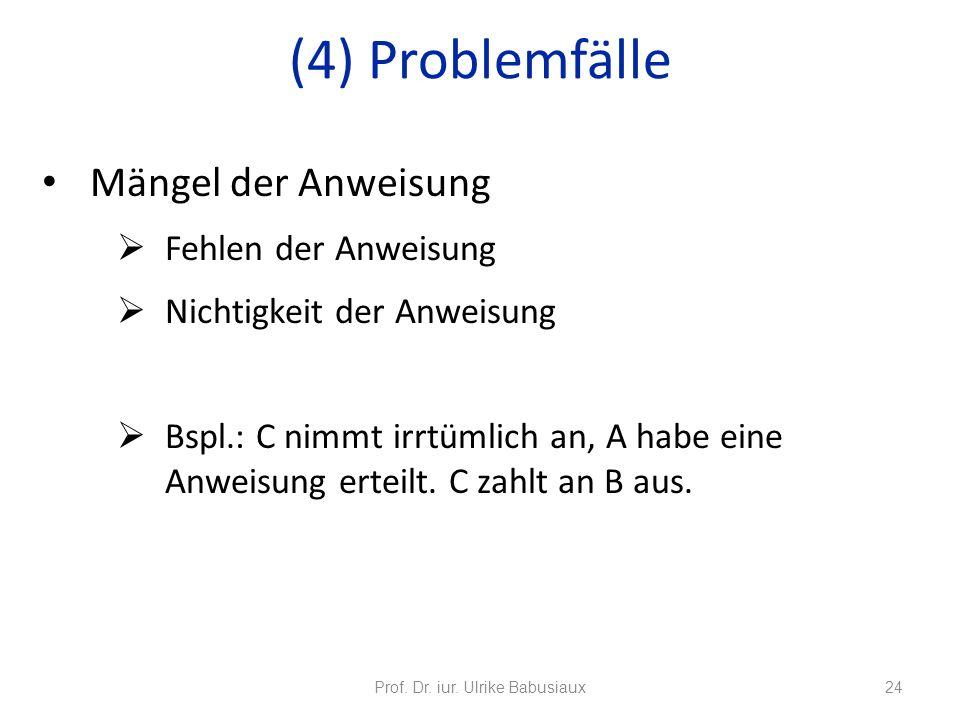 Mängel der Anweisung Fehlen der Anweisung Nichtigkeit der Anweisung Bspl.: C nimmt irrtümlich an, A habe eine Anweisung erteilt. C zahlt an B aus. Pro