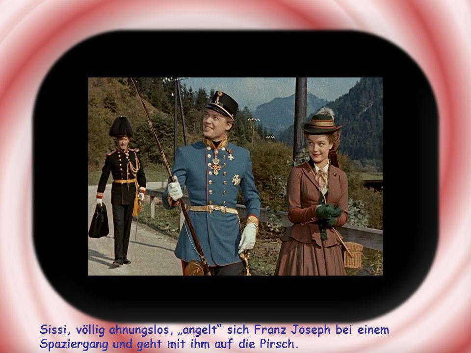 Sissi, völlig ahnungslos, angelt sich Franz Joseph bei einem Spaziergang und geht mit ihm auf die Pirsch.