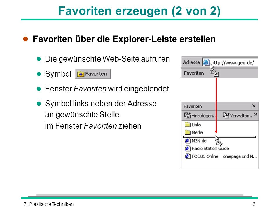 37. Praktische Techniken l Favoriten über die Explorer-Leiste erstellen l Die gewünschte Web-Seite aufrufen l Symbol l Fenster Favoriten wird eingeble