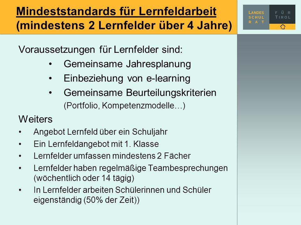 Mindeststandards für Lernfeldarbeit (mindestens 2 Lernfelder über 4 Jahre) Voraussetzungen für Lernfelder sind: Gemeinsame Jahresplanung Einbeziehung