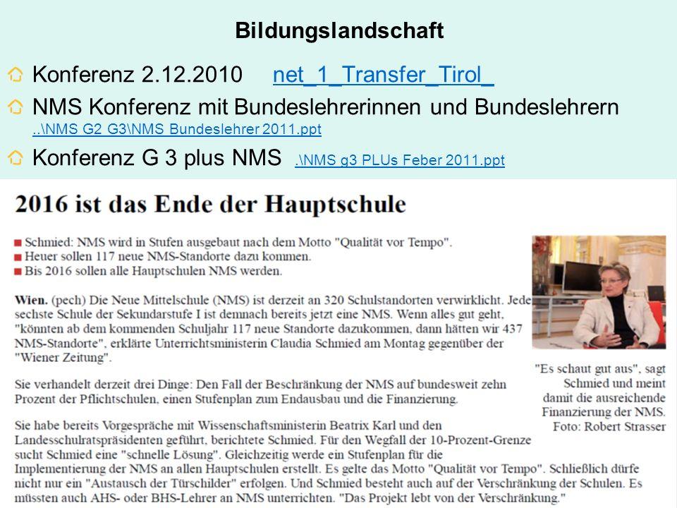 Bildungslandschaft Konferenz 2.12.2010 net_1_Transfer_Tirol_net_1_Transfer_Tirol_ NMS Konferenz mit Bundeslehrerinnen und Bundeslehrern..\NMS G2 G3\NM