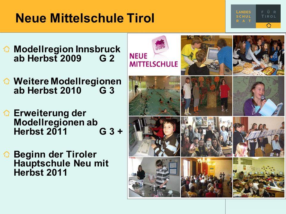 Neue Mittelschule Tirol Modellregion Innsbruck ab Herbst 2009 G 2 Weitere Modellregionen ab Herbst 2010 G 3 Erweiterung der Modellregionen ab Herbst 2