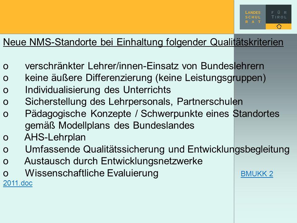 Neue NMS-Standorte bei Einhaltung folgender Qualitätskriterien o verschränkter Lehrer/innen-Einsatz von Bundeslehrern o keine äußere Differenzierung (