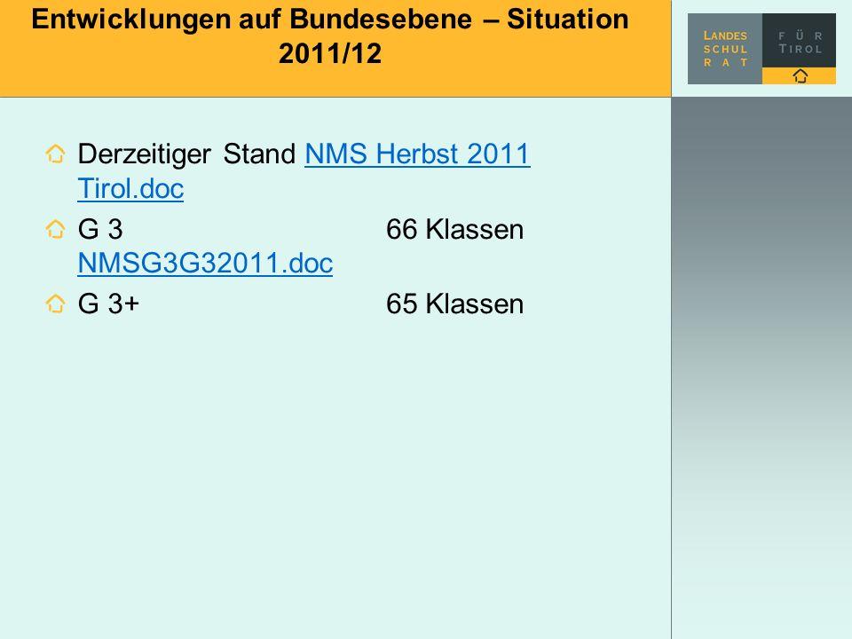 Entwicklungen auf Bundesebene – Situation 2011/12 Derzeitiger Stand NMS Herbst 2011 Tirol.docNMS Herbst 2011 Tirol.doc G 366 Klassen NMSG3G32011.doc N