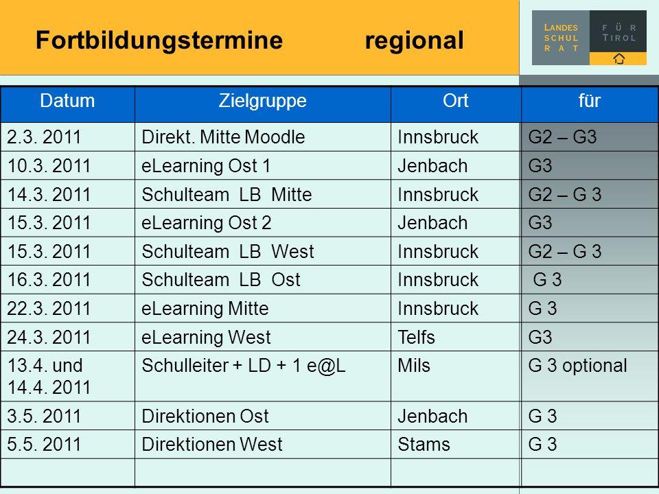 Fortbildungstermineregional DatumZielgruppeOrtfür 2.3. 2011Direkt. Mitte MoodleInnsbruckG2 – G3 10.3. 2011eLearning Ost 1JenbachG3 14.3. 2011Schulteam