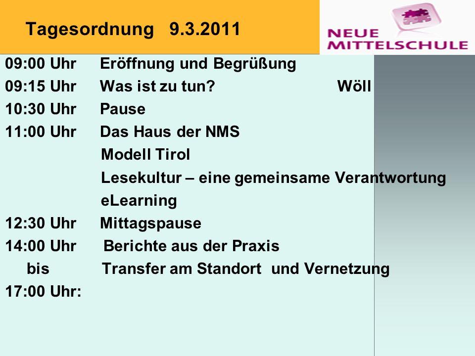 Tagesordnung 9.3.2011 09:00 UhrEröffnung und Begrüßung 09:15 UhrWas ist zu tun?Wöll 10:30 UhrPause 11:00 UhrDas Haus der NMS Modell Tirol Lesekultur –