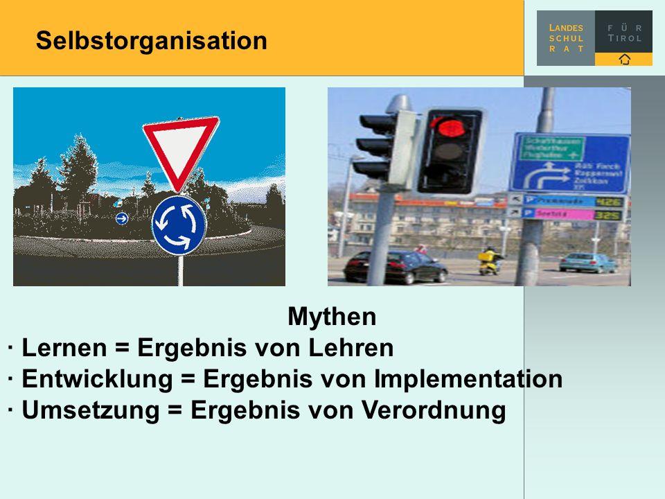 Selbstorganisation Mythen · Lernen = Ergebnis von Lehren · Entwicklung = Ergebnis von Implementation · Umsetzung = Ergebnis von Verordnung