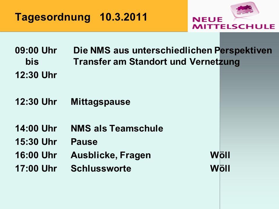 Tagesordnung 10.3.2011 09:00 Uhr Die NMS aus unterschiedlichen Perspektiven bis Transfer am Standort und Vernetzung 12:30 Uhr 12:30 UhrMittagspause 14
