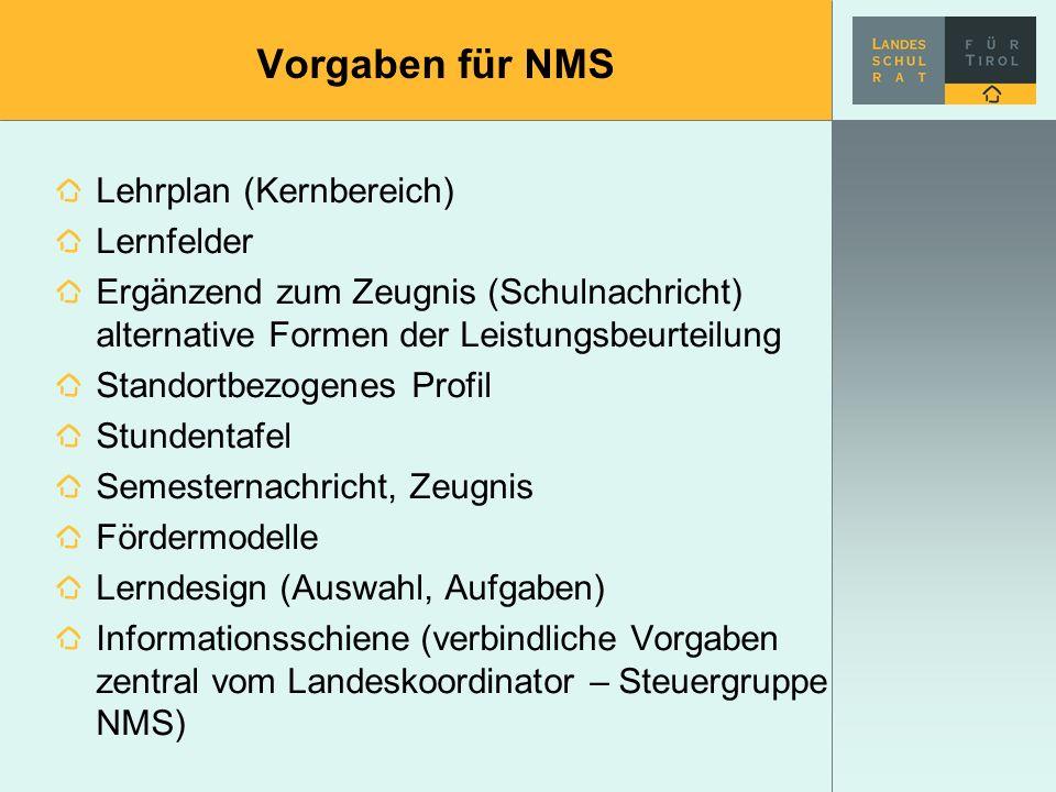 Vorgaben für NMS Lehrplan (Kernbereich) Lernfelder Ergänzend zum Zeugnis (Schulnachricht) alternative Formen der Leistungsbeurteilung Standortbezogene