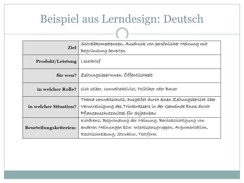 Beispiel aus Lerndesign: Deutsch
