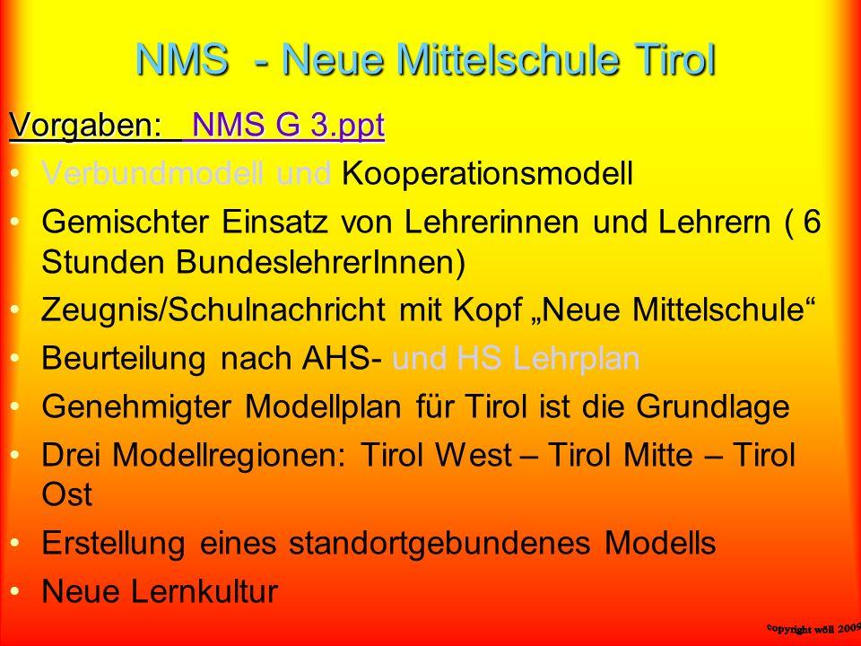 NMS - Neue Mittelschule Tirol Vorgaben: NMS G 3.ppt NMS G 3.ppt NMS G 3.ppt Verbundmodell und Kooperationsmodell Gemischter Einsatz von Lehrerinnen un