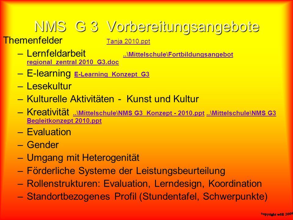 NMS G 3 Vorbereitungsangebote Themenfelder Tanja 2010.ppt Tanja 2010.ppt –Lernfeldarbeit..\Mittelschule\Fortbildungsangebot regional_zentral 2010_G3.d