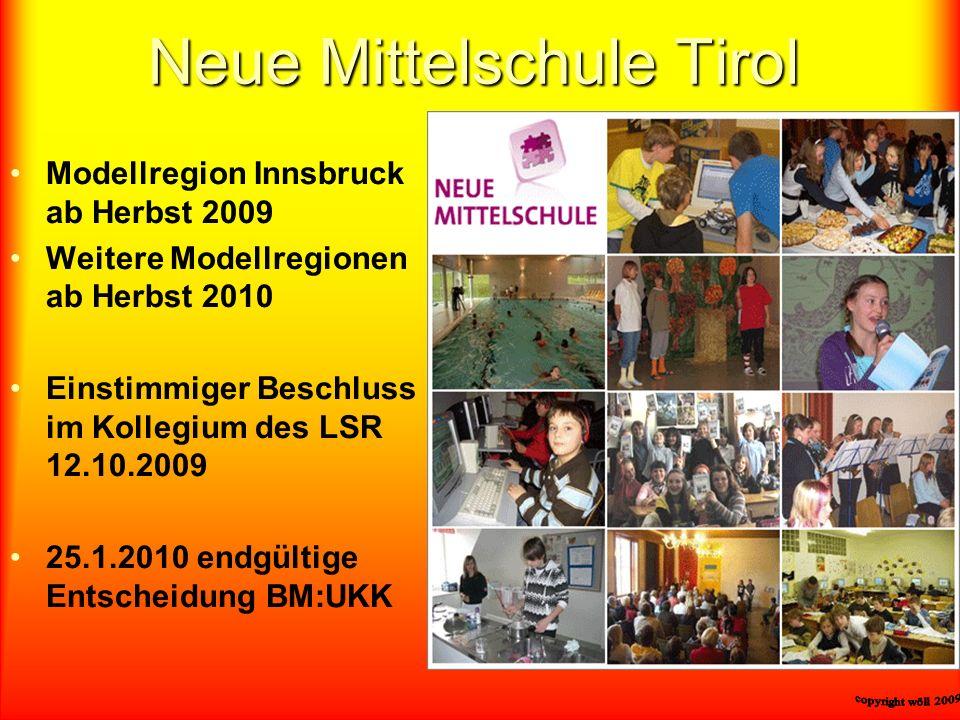 Neue Mittelschule Tirol Modellregion Innsbruck ab Herbst 2009 Weitere Modellregionen ab Herbst 2010 Einstimmiger Beschluss im Kollegium des LSR 12.10.