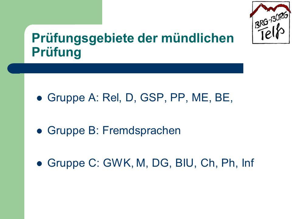 Prüfungsgebiete der mündlichen Prüfung Gruppe A: Rel, D, GSP, PP, ME, BE, Gruppe B: Fremdsprachen Gruppe C: GWK, M, DG, BIU, Ch, Ph, Inf