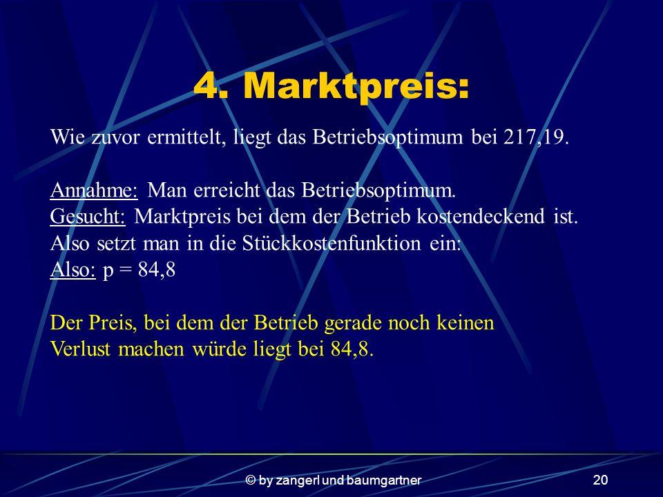 © by zangerl und baumgartner19 Gewinnschwellen: Setzt man die Erfolgsfkt Null, so erhält man folgende Fkt: -0,0009x³+0,007x²+50,365x-8974,7=0 Mit dem Newtonschen Näherungsverfahren erhält man x1=148,83 und x2=298,56 Die Gewinnschwellen liegen also bei 149m3 und bei 298 m3 Schotter pro Tag.