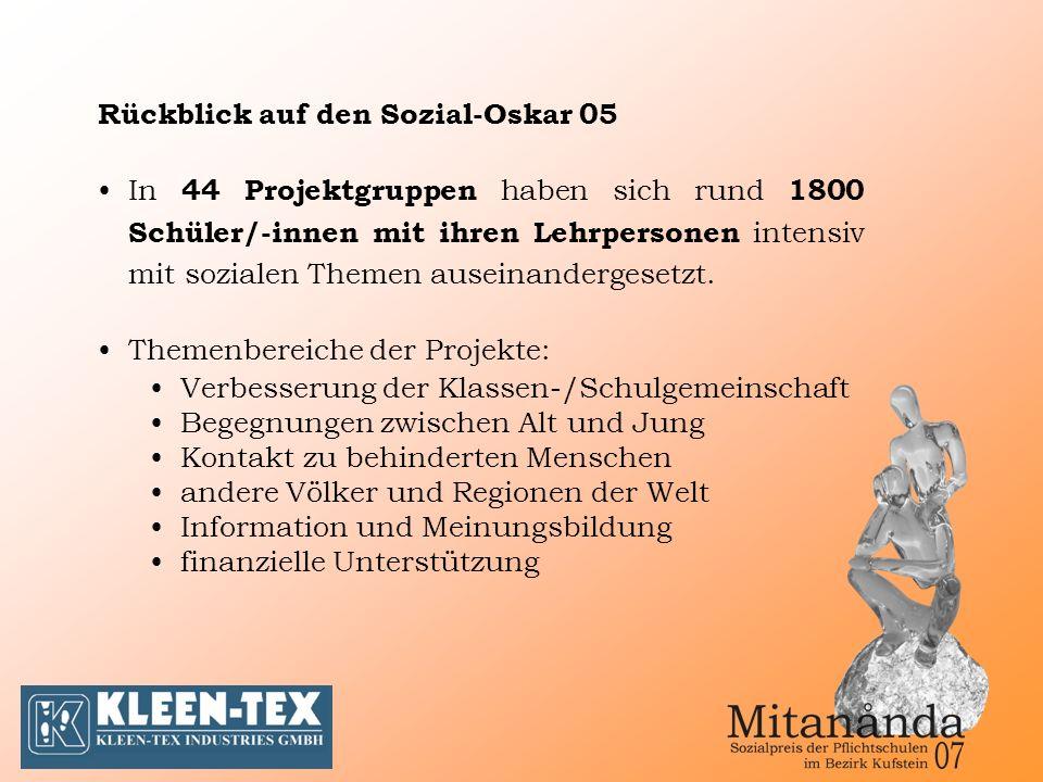 Rückblick auf den Sozial-Oskar 05 In 44 Projektgruppen haben sich rund 1800 Schüler/-innen mit ihren Lehrpersonen intensiv mit sozialen Themen auseinandergesetzt.