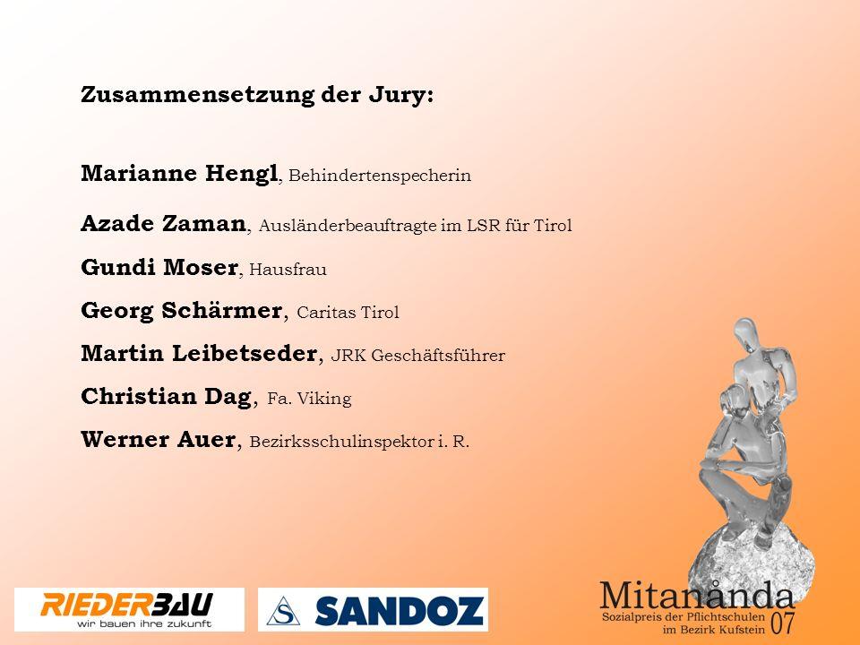 Marianne Hengl, Behindertenspecherin Azade Zaman, Ausländerbeauftragte im LSR für Tirol Gundi Moser, Hausfrau Georg Schärmer, Caritas Tirol Martin Leibetseder, JRK Geschäftsführer Christian Dag, Fa.