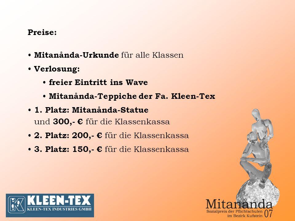 Mitanånda-Urkunde für alle Klassen Verlosung: freier Eintritt ins Wave Mitanånda-Teppiche der Fa.
