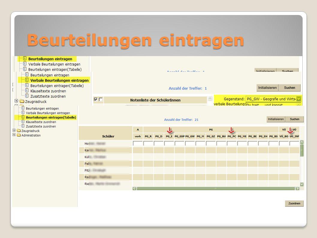 Zeugnisse anpassen Zeugnis pflegen Vorlage ändern, KV, Schulart, … überschreiben Zeugnisdaten zuordnen liest akt.