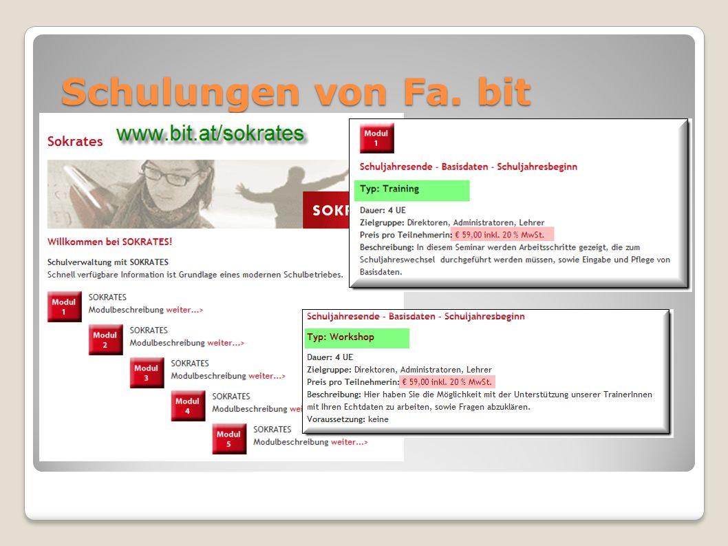 Schulungen von Fa. bit