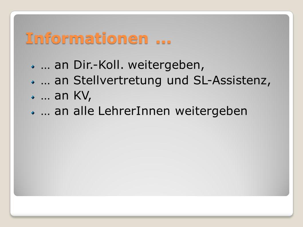 Informationen... … an Dir.-Koll. weitergeben, … an Stellvertretung und SL-Assistenz, … an KV, … an alle LehrerInnen weitergeben