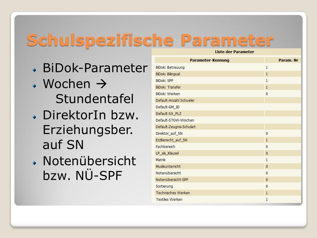 Schulspezifische Parameter BiDok-Parameter Wochen Stundentafel DirektorIn bzw. Erziehungsber. auf SN Notenübersicht bzw. NÜ-SPF