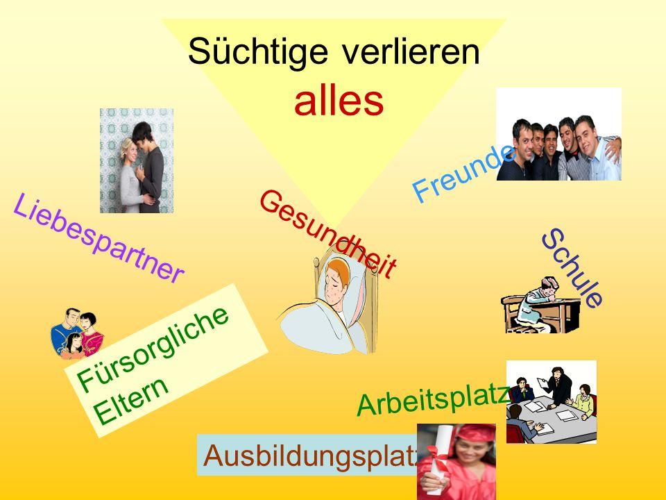 (C) 4C Klasse Gesundheit Süchtige verlieren alles Liebespartner Fürsorgliche Eltern Freunde Arbeitsplatz Schule Ausbildungsplatz