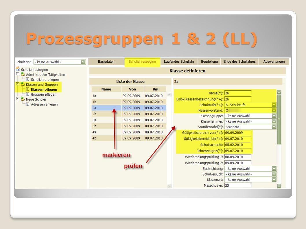 Prozessgruppen 1 & 2 (LL)