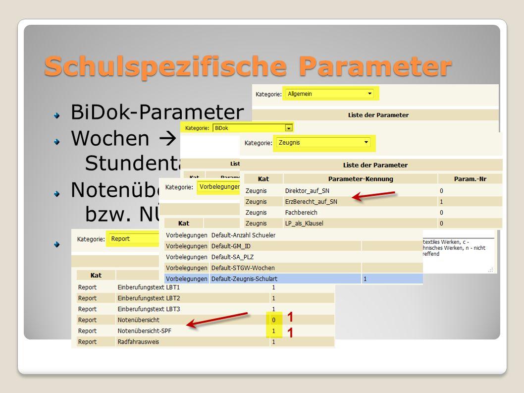 Schulspezifische Parameter BiDok-Parameter Wochen Stundentafel Notenübersicht bzw. NÜ-SPF DirektorIn bzw. Erziehungsber. auf SN