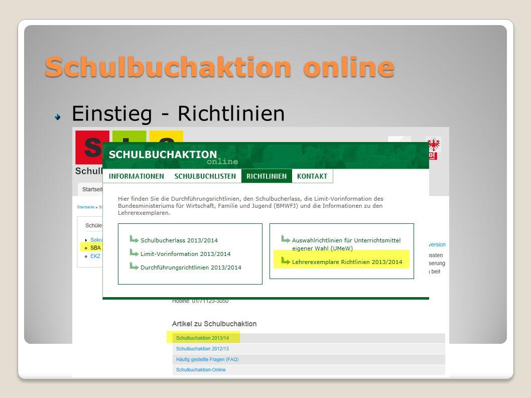Schulbuchaktion online Einstieg - Richtlinien