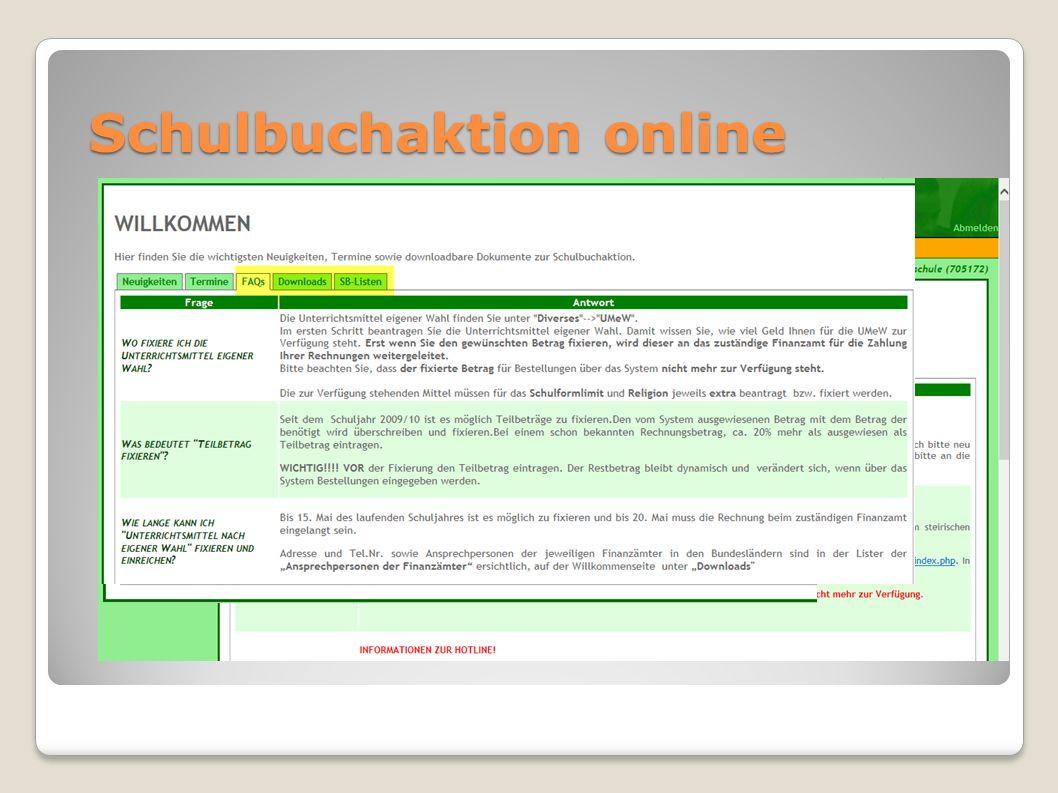 Schulbuchaktion online Termine, Anleitungen