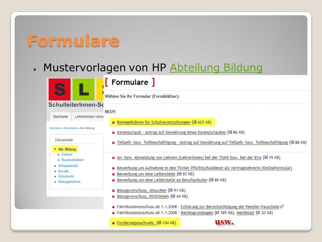 Formulare Mustervorlagen von HP Abteilung BildungAbteilung Bildung