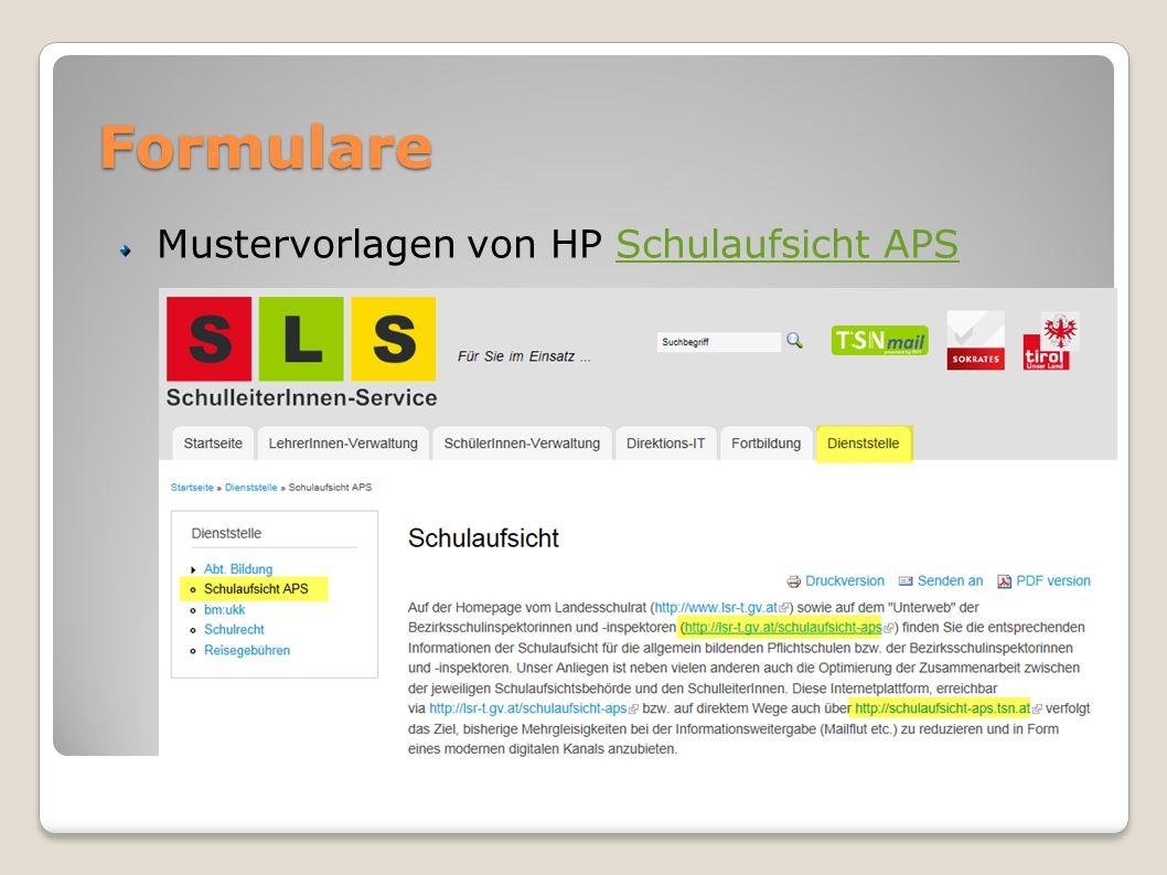 Formulare Ziele (STS/SLS): Persönliche Formulare ins Portal (Onlineformulare)Onlineformulare Formulare der Bezirke vereinheitlichen und generell auf der HP der Schulaufsicht APS zum Download zur Verfügung stellen
