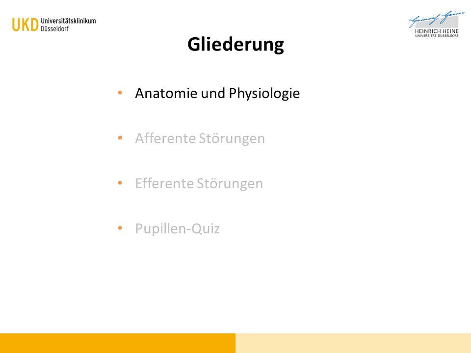 Gliederung Anatomie und Physiologie Afferente Störungen Efferente Störungen Pupillen-Quiz