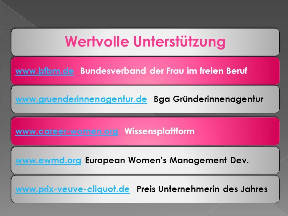 Wertvolle Unterstützung www.bfbm.dewww.bfbm.de Bundesverband der Frau im freien Berufwww.gruenderinnenagentur.dewww.gruenderinnenagentur.de Bga Gründerinnenagenturwww.career-women.orgwww.career-women.org Wissensplattformwww.ewmd.orgwww.ewmd.org European Womens Management Dev.www.prix-veuve-cliquot.dewww.prix-veuve-cliquot.de Preis Unternehmerin des Jahres