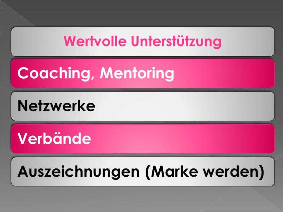 Wertvolle Unterstützung Coaching, MentoringNetzwerkeVerbändeAuszeichnungen (Marke werden)