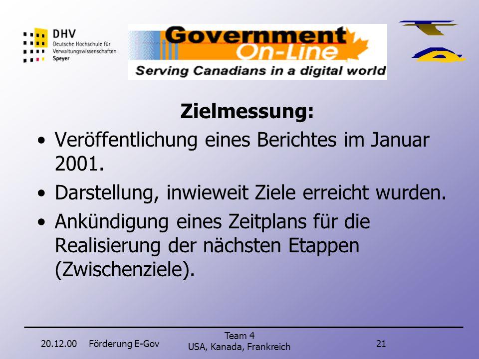 20.12.00Förderung E-Gov20 Team 4 USA, Kanada, Frankreich Kanada Zielvorgaben bis Ende 2000: Vollständige Information über Dienste und Initiativen der Regierung.