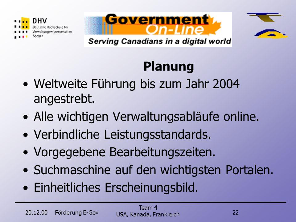 20.12.00Förderung E-Gov21 Team 4 USA, Kanada, Frankreich Kanada Zielmessung: Veröffentlichung eines Berichtes im Januar 2001. Darstellung, inwieweit Z
