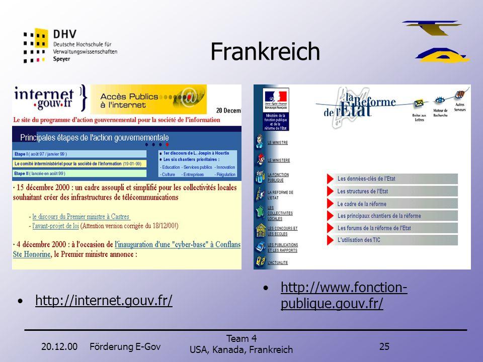 20.12.00Förderung E-Gov24 Team 4 USA, Kanada, Frankreich Kanada: Strategie Förderung auf drei Ebenen (Technology, Services, Human Ressources). Aufgrun