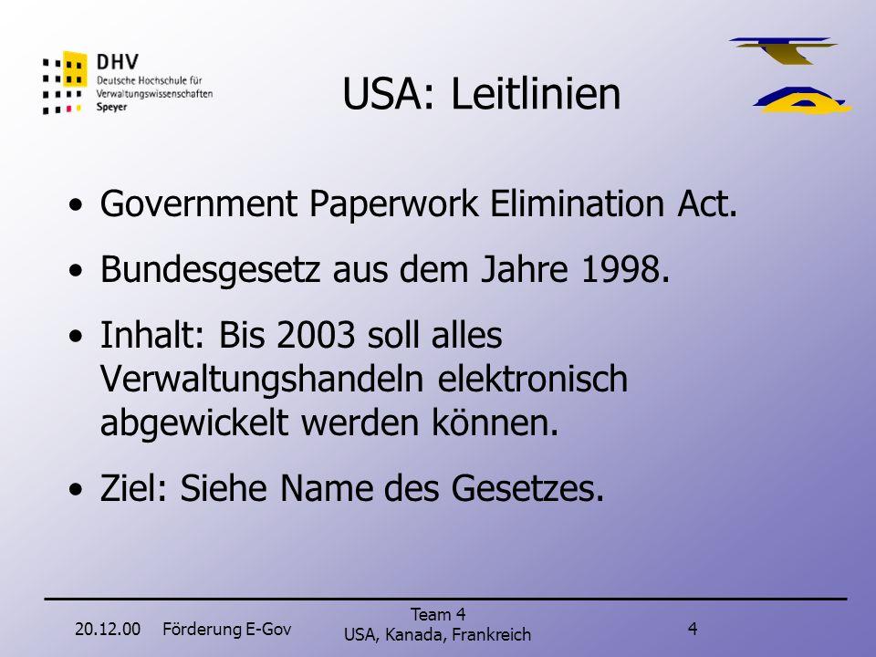 20.12.00Förderung E-Gov4 Team 4 USA, Kanada, Frankreich USA: Leitlinien Government Paperwork Elimination Act.