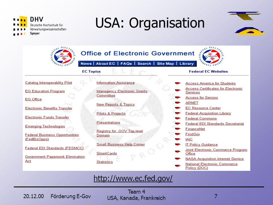 20.12.00Förderung E-Gov7 Team 4 USA, Kanada, Frankreich USA: Organisation http://www.ec.fed.gov/