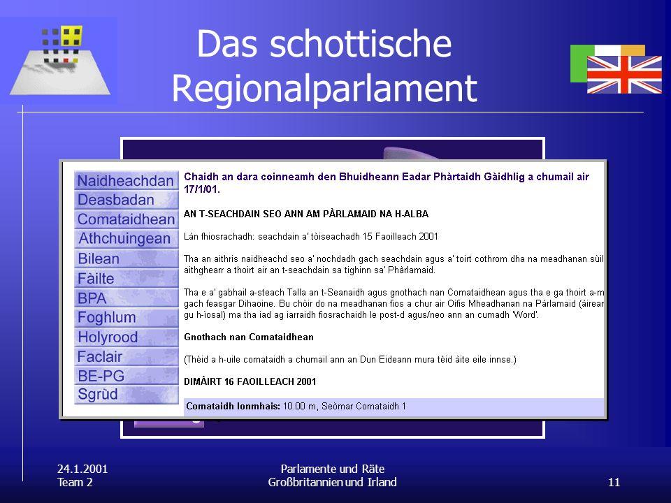 24.1.2001 Team 2 11 Parlamente und Räte Großbritannien und Irland Das schottische Regionalparlament