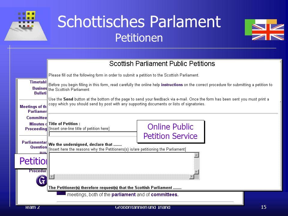 24.1.2001 Team 2 15 Parlamente und Räte Großbritannien und Irland Schottisches Parlament Petitionen International Democracy Center e-petitioner system Petitions Online Public Petition Service